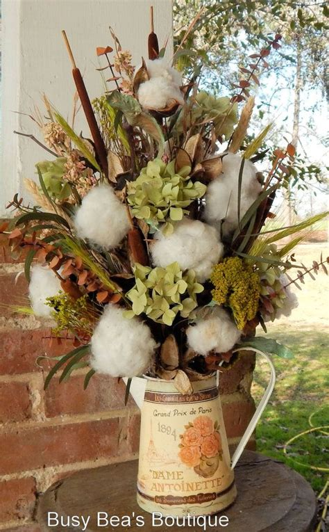 cotton boll french country arrangement antique