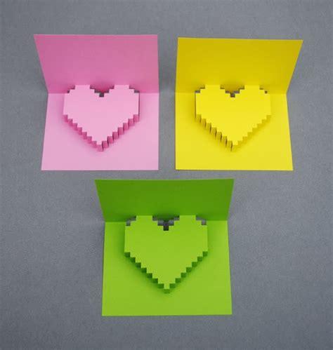 popular diy crafts blog     pixel heart pop  card