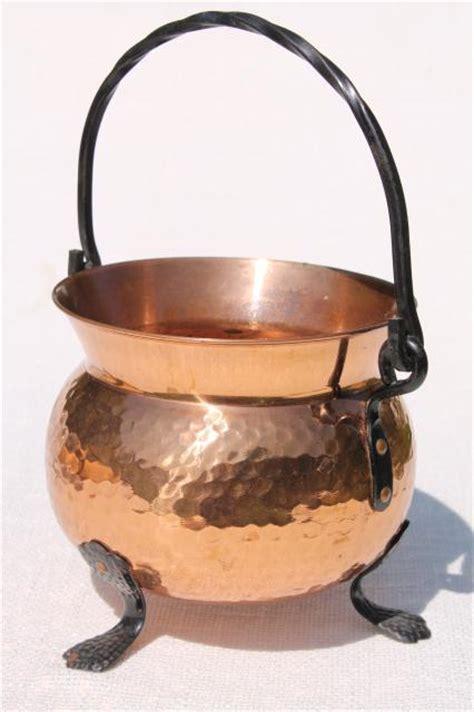 vintage swiss copper pot kettle  wrought iron handle feet witch cauldron shape