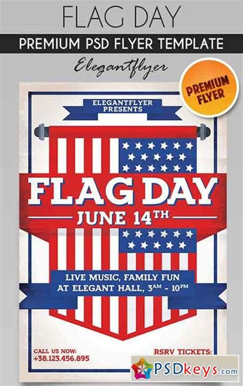 flag day flyer psd template facebook cover