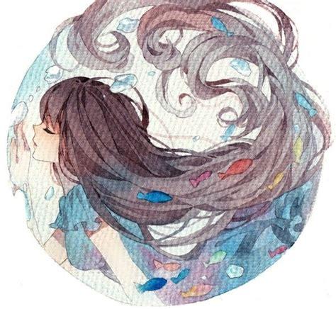 watercolor anime anime beautiful watercolor onto radial design
