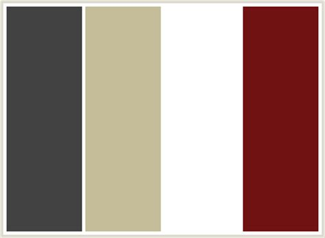 what colour scheme goes with grey colorcombo182 with hex colors 424242 c5bd99 ffffff 701112