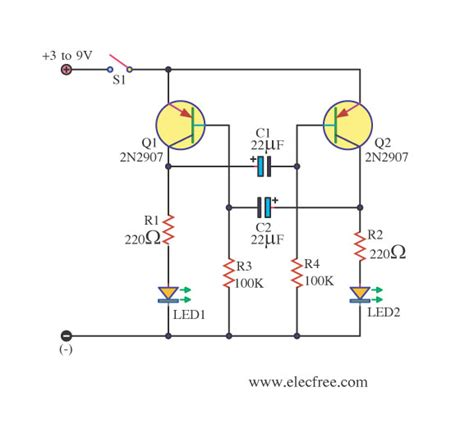 Dual Led Flasher Electronic Projects Circuits