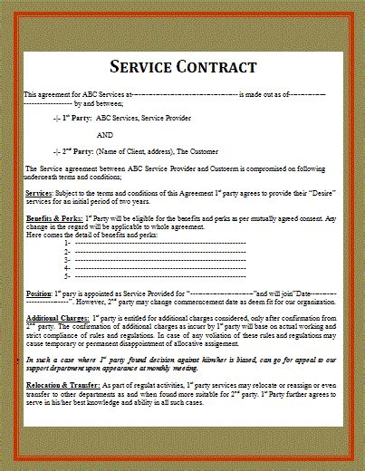 contract templates  word templates