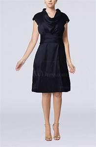 Navy Blue Modern Jewel Short Sleeve Taffeta Knee Length ...