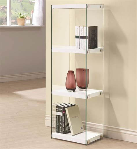 contemporary  shelf bookcase  glass shelves