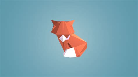 Low Poly Animal Wallpaper - digital low poly animals fox blue background