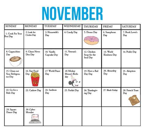 kirkwood call fun national holiday calendar november