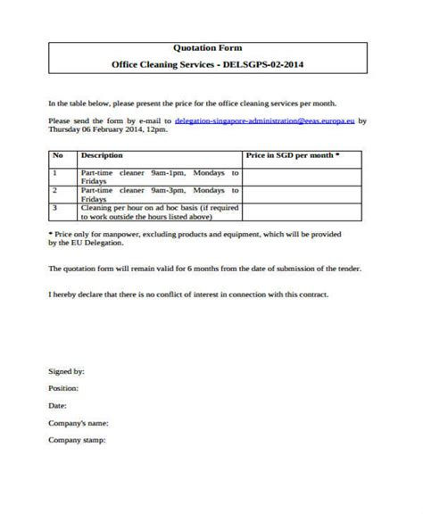 cleaning quotation samples templates   word