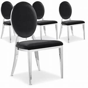 Chaise Velours Noir : chaise m tal brillant assise velours noir medaillon ~ Teatrodelosmanantiales.com Idées de Décoration