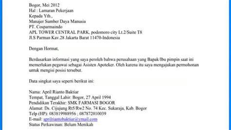 Contoh Surat Lamaran Cpns Kemenristekdikti by Contoh Surat Lamaran Cpns Jombang