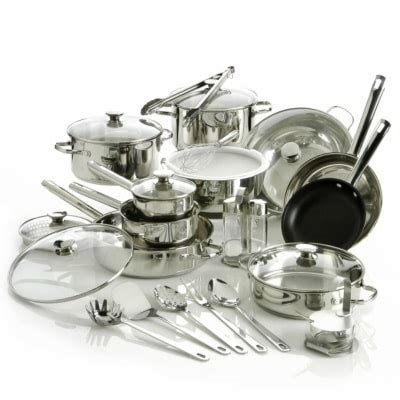 shop wolfgang puck  piece stainless steel cookware set  shipping today overstock