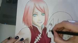 Speed Drawing Uchiha Sakura And Uchiha Sasuke Naruto