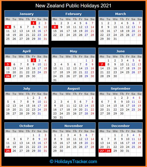 These dates may be modified as official changes are announced, so please check back regularly for updates. New Zealand Public Holidays 2021 - Holidays Tracker
