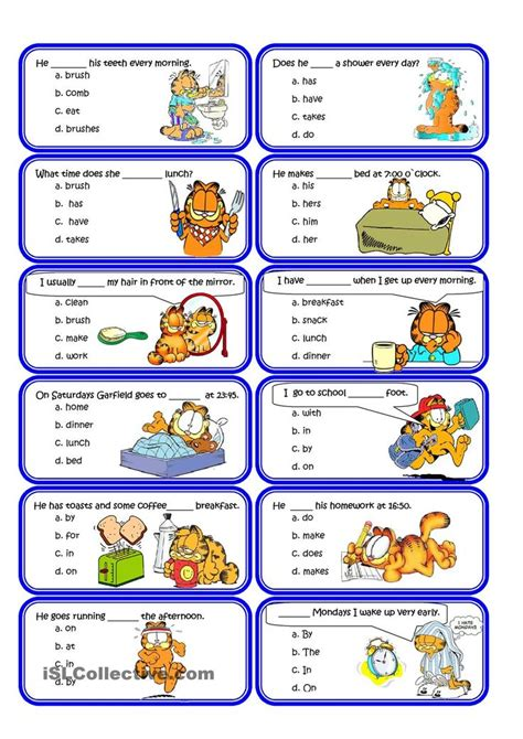 present simple and routine speaking cards practicum