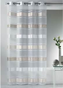 Kit Rayure Vitrage : voilage oeillets blanc organza bandes jacquard gris ~ Premium-room.com Idées de Décoration