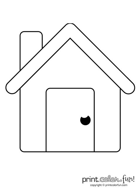 simple house coloring page print color fun