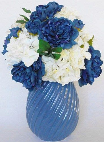 Navy Blue Flower Vases by Silk Flower Arrangement Navy Peonies White Hydrangea