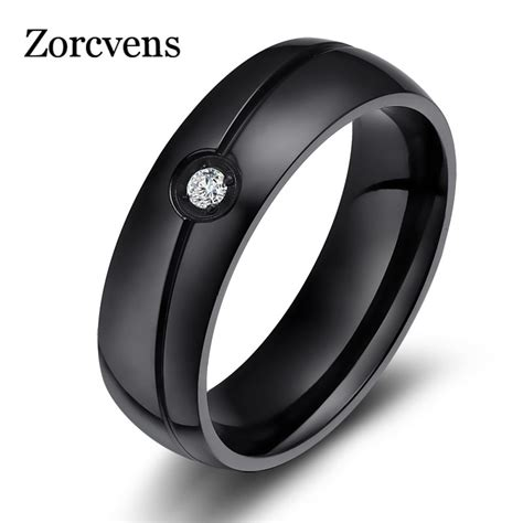 zorcvens 2018 new fashion aaa cz wedding rings for black stainless steel ring o