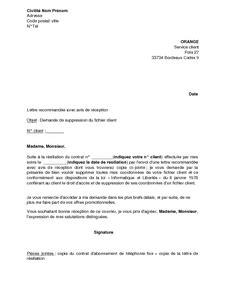 lettre de demande de suppression du fichier client orange mod 232 le de lettre gratuit exemple de