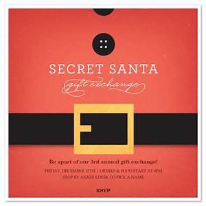 secret santa belt invitations cards on pinggcom With secret santa email template