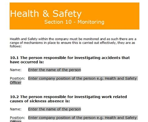 health and safety policy template for small business costumepartyrun