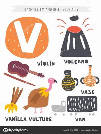 Letter Objects Alphabet Violin Vulture Vase Volcano