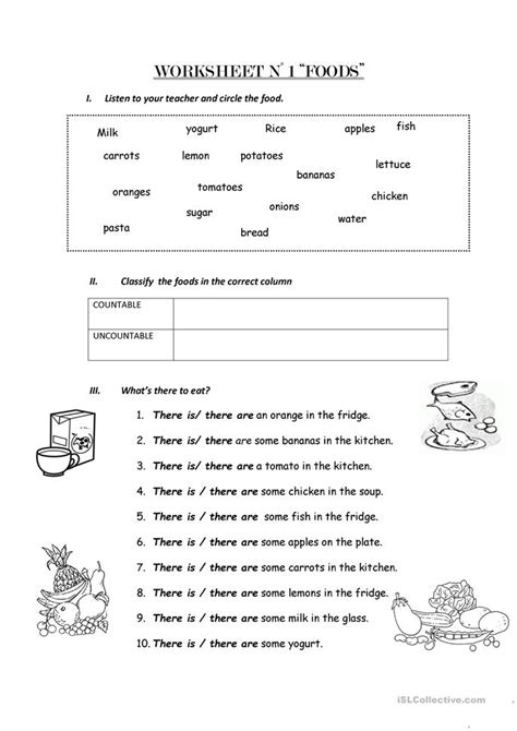 count and non count nouns worksheet free esl printable