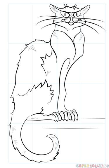 draw  black cat step  step drawing tutorials