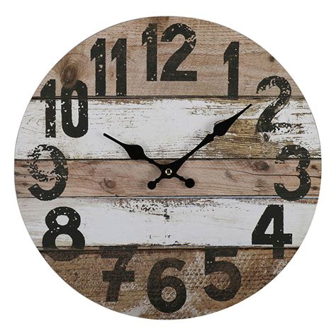 34 wooden wall clocks to 34cm brown white rustic wooden wall clock