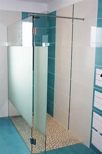 Paroi Douche Verre Sablé : cloison entre baignoire et douche id e ~ Premium-room.com Idées de Décoration