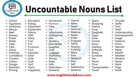 Uncountable Nouns List  English Study Here