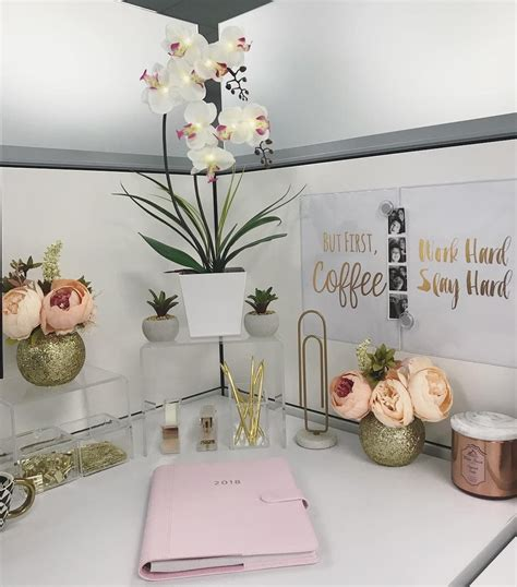 cubicle desk decor gold pink clear work cubicle