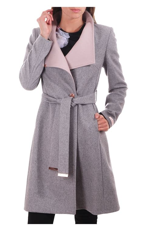 light grey long coat ted baker womens ted baker womens khera contrast long wrap