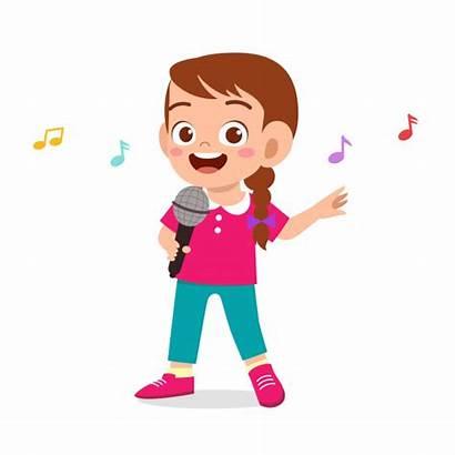 Sing Song Kid Happy Vector Clipart Premium