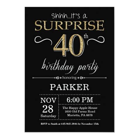Surprise 40th Birthday Invitation Black and Gold Zazzle com
