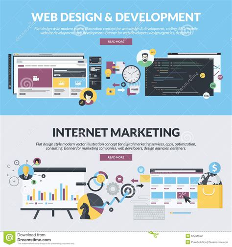 web marketing company set of flat design style banners for web development and