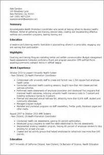 service promotional resume professional health promotion coordinator templates to showcase your talent myperfectresume