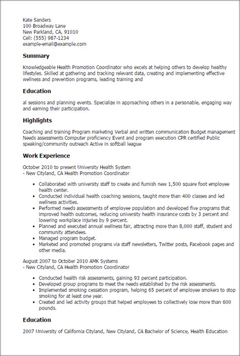 Health Promotion Specialist Resume by Professional Health Promotion Coordinator Templates To