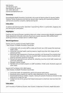 1 health promotion coordinator resume templates try them With health promotion plan template