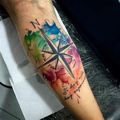 Watercolor Compass Tattoo Design On Leg Calf