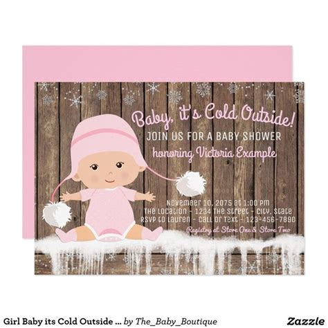 Girl Baby Its Cold Outside Baby Shower X Invitation Card Baby Pinterest Outside Baby