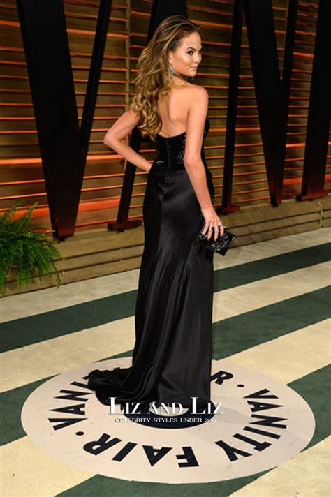 chrissy teigen black strapless celebrity dress oscars