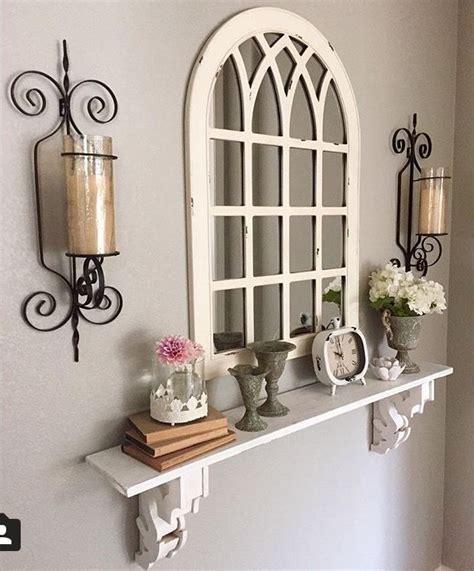 wall decor mirror shelf decor farmhouse decor living