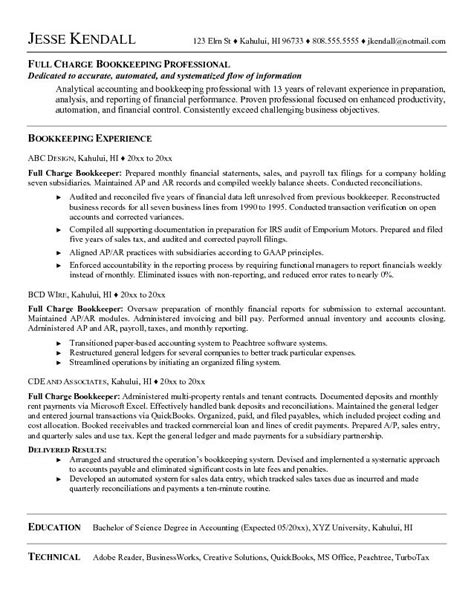Bookkeeper Resume Objective Exles by Exle Charge Bookkeeper Resume Free Sle