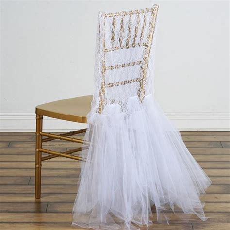 bridal party lace  tulle tutu chair covers white