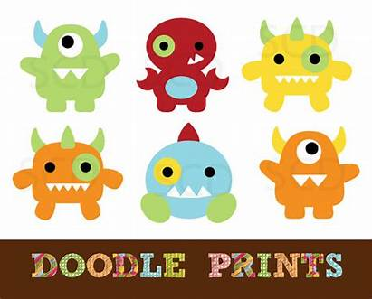 Monster Monsters Clipart Clip Printable Scrapbook Digital