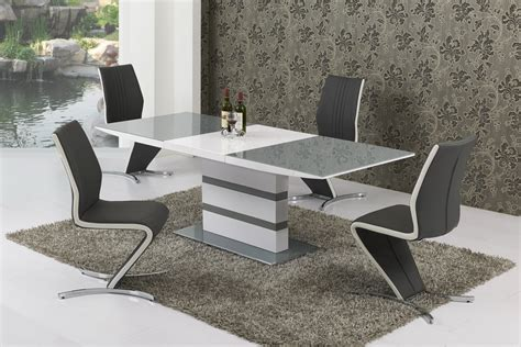 White Gloss Dining Table by Large Extending Grey Glass White Gloss Dining Table And 6