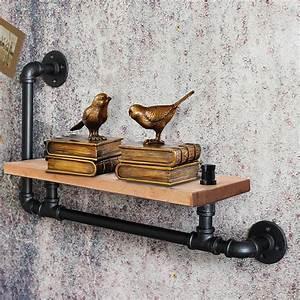 Vintage, Industrial, Pipe, Wooden, Floating, Shelf, Vintage, Wall, Storage, Shelving, Unit