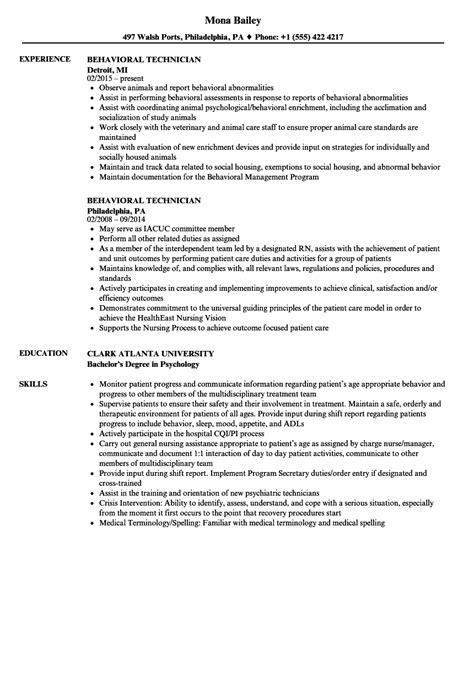 Register Resume by Behavioral Technician Resume Sle Bijeefopijburg Nl